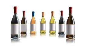 Botella de vino rojo Conjunto de blanco, de rosa, y de botellas de vino rojo Aislado en el fondo blanco stock de ilustración