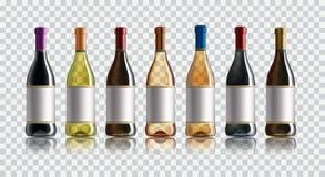 Botella de vino rojo Conjunto de blanco, de rosa, y de botellas de vino rojo En el fondo blanco ilustración del vector