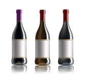 Botella de vino rojo Conjunto de blanco, de rosa, y de botellas de vino rojo En el fondo blanco stock de ilustración