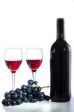 Botella de vino rojo, de copas de vino y de uvas Imágenes de archivo libres de regalías