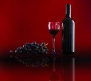 Botella de vino rojo, de copas de vino y de uvas Fotografía de archivo libre de regalías