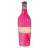 Botella de vino rojo en blanco Foto de archivo libre de regalías