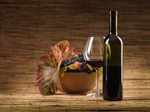 Botella de vino rojo, vidrio, uvas, fondo de mimbre Fotos de archivo