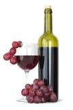 Botella de vino rojo y uva joven Foto de archivo libre de regalías