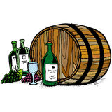 Botella de vino y barell Fotografía de archivo