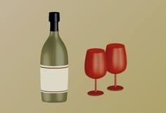 Botella de vino y cubiletes Imagen de archivo