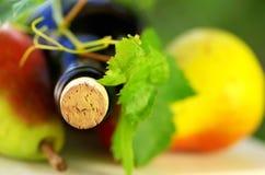 Botella de vino y de fruta Imagen de archivo libre de regalías