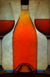 Botella de vino y de vidrios Imágenes de archivo libres de regalías