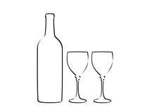 Botella de vino y dos vidrios Fotografía de archivo libre de regalías