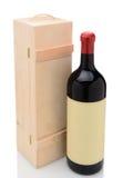 Botella de Wien y caja de madera Imagen de archivo libre de regalías