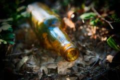 Botella dejada en naturaleza Fotos de archivo