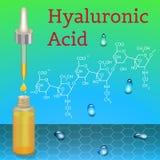 Botella del ácido hialurónico Fórmula química Foto de archivo libre de regalías