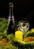 Botella del Año Nuevo de champán Fotos de archivo