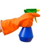 Botella del aerosol de la explotación agrícola de la mano Imagen de archivo libre de regalías