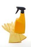 Botella del aerosol y guantes protectores Fotografía de archivo libre de regalías