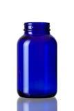 Botella del azul de cobalto abierta fotos de archivo libres de regalías