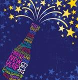 Botella 2019 del champán de la Feliz Año Nuevo con las palabras manuscritas inspiradoras, estallando las estrellas stock de ilustración