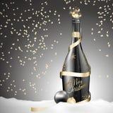 Botella del champán de la Navidad con la cinta y las bolas del oro stock de ilustración
