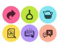 Botella del coñac, parte y sistema técnico de los iconos de la documentación Gráfico del Analytics, jarro de leche y muestras del stock de ilustración