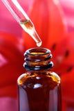 Botella del cuentagotas de la medicina herbaria con las flores Foto de archivo libre de regalías