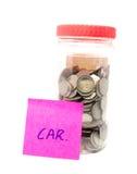 Botella del dinero del ahorro con el mensaje Fotos de archivo