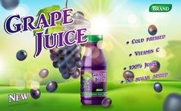 Botella del jugo de uva con el fondo soleado en hierba verde Anuncio del paquete del envase del jugo vector realista de la uva 3d ilustración del vector