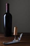 Botella del sacacorchos y de vino Imagenes de archivo
