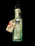 Botella del tóxico de Halloween Fotos de archivo libres de regalías