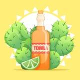 Botella del Tequila con la cal y el cactus Foto de archivo libre de regalías