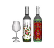 Botella del vino blanco rojo y con el vidrio Imagen de archivo libre de regalías