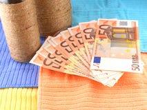 Botella del vintage con el dinero euro en la placa Fotografía de archivo libre de regalías
