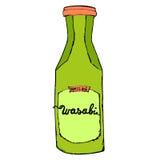 Botella del Wasabi aislada en el fondo blanco Mano colorida dibujada Imagen de archivo