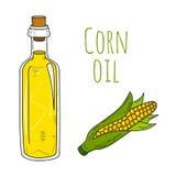 Botella dibujada mano colorida del aceite de maíz Foto de archivo