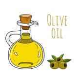 Botella dibujada mano colorida del aceite de oliva Fotos de archivo libres de regalías