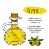 Botella dibujada mano colorida del aceite de oliva con el texto de la muestra Imagen de archivo