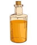 Botella dibujada mano con aceite Ilustración del vector Amarillo-naranja Fotografía de archivo libre de regalías