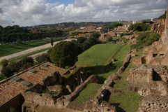 Botella doble/Roman Forum del foro de Roma de los monumentos fotos de archivo