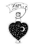 Botella en forma de corazón con la poción de amor, ejemplo foto de archivo libre de regalías
