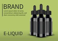Botella líquida de los cigarrillos de E en fondo verde Vape Ilustración del vector Fotos de archivo libres de regalías