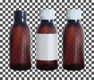 Botella médica de Brown con una etiqueta Plantilla de cristal transparente del frasco Vector Foto de archivo