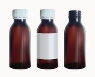 Botella médica de Brown con una etiqueta Plantilla del vidrio del frasco Vector aislado Imagen de archivo
