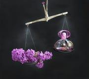 Botella natural y de las lilas de perfume en la oposición de las escalas Imagen de archivo libre de regalías