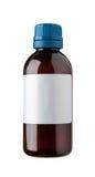 Botella pasada de moda de la droga con la escritura de la etiqueta. Imagenes de archivo