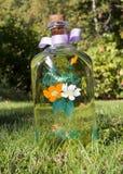 Botella pintada a mano Foto de archivo