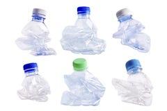 Botella plástica aplastada Fotos de archivo