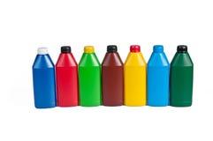 Botella plástica para el aceite de la máquina Foto de archivo libre de regalías
