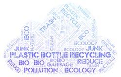 Botella plástica que recicla la nube de la palabra imagen de archivo