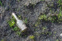 Botella plástica y de cristal en el parque, concepto de protección del medio ambiente Imagenes de archivo