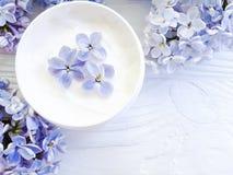 Botella poner crema cosmética, terapia de la lila de la flor del extracto en el fondo de madera blanco imagen de archivo libre de regalías