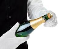 Botella profesional de la abertura del camarero de champán Fotografía de archivo